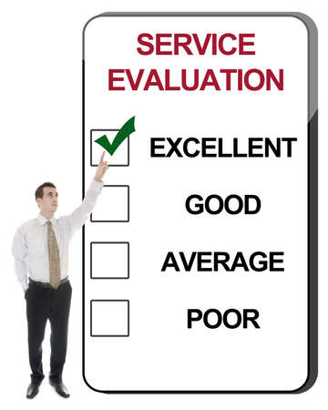 excellent background: Business man pointing Service Evaluation