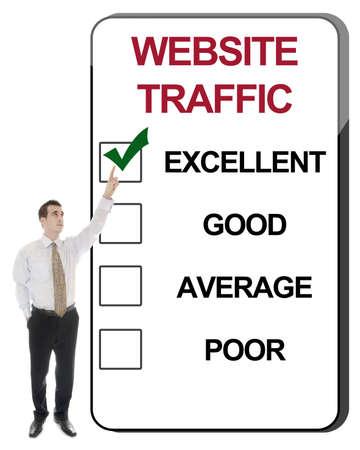 web survey: Hombre de negocios, se�alando el tr�fico Web