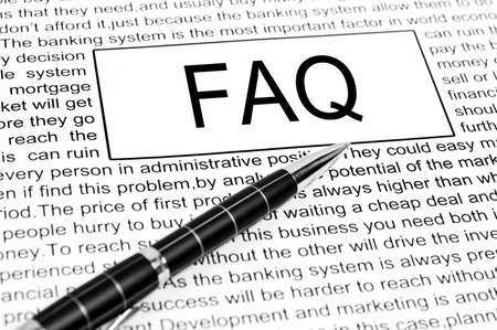 Faq word on business page photo