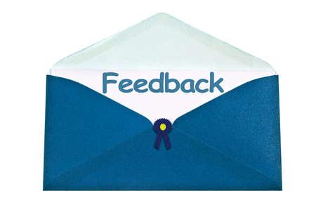 Feedback letter in blue envelope photo