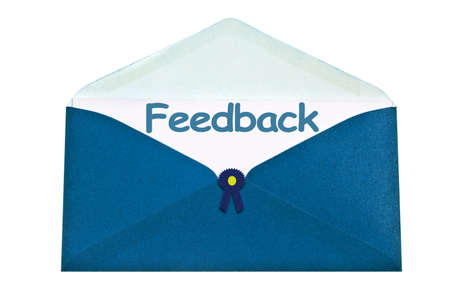 an opinion: Feedback letter in blue envelope