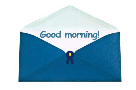 Good morning letter in blue envelope Stock Photo - 10080380