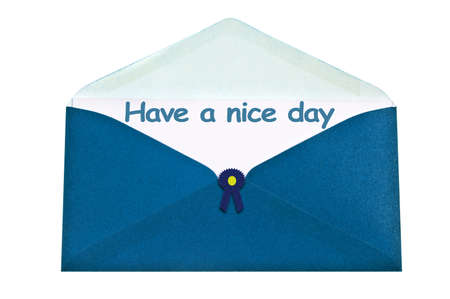 Have a nice day letter in blue envelope photo