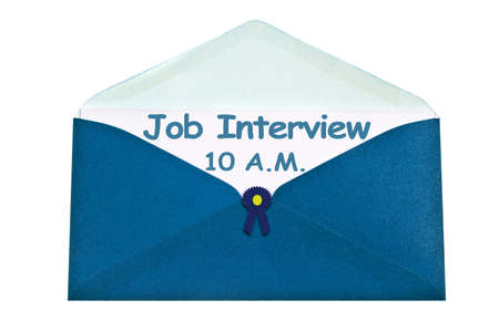 Job interview letter in blue envelope photo