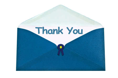 Thank you letter in blue envelope photo