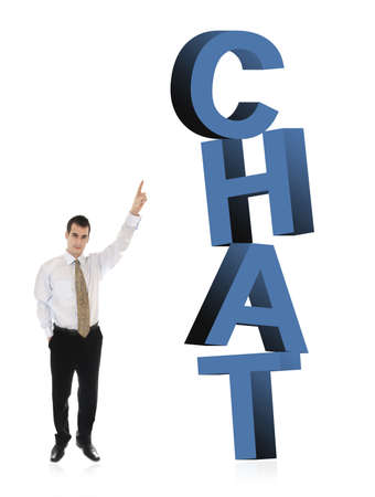 finer: Hombre de negocios apuntando en palabra Chat Foto de archivo