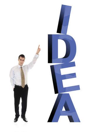 finer: Hombre de negocios en la palabra Idea Foto de archivo
