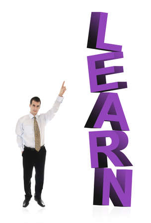 finer: Business man pointing on word Learn Stock Photo