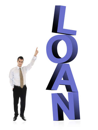 finer: Business man pointing on word Loan