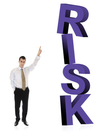 finer: Business man pointing on word Risk Stock Photo