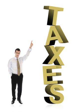 finer: Hombre de negocios apuntando sobre impuestos de palabra