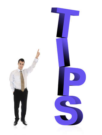 tip: Business man pointing on word Tips
