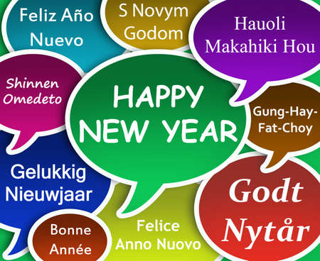 multi: Illustration of Happy New Year in many languages