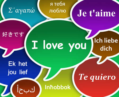 Illustration of I love You in many languages illustration