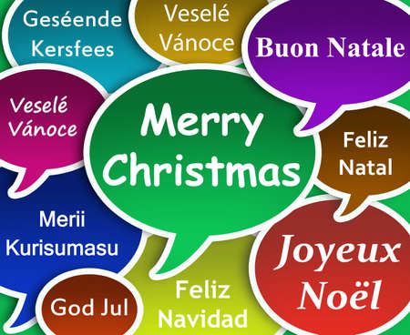 christmass: Illustration of  Merry Christmass in many languages