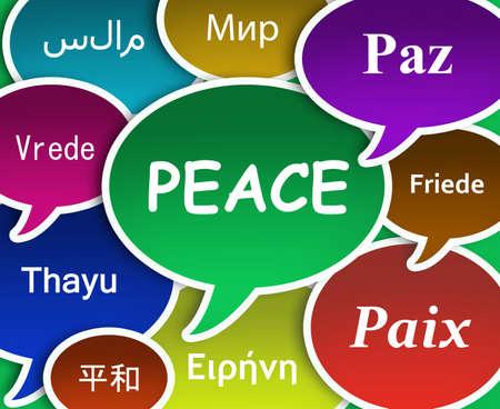 paz mundial: Ilustración de la Paz en varios idiomas