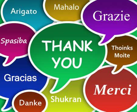 gratitudine: Illustrazione di ringrazio in molte lingue
