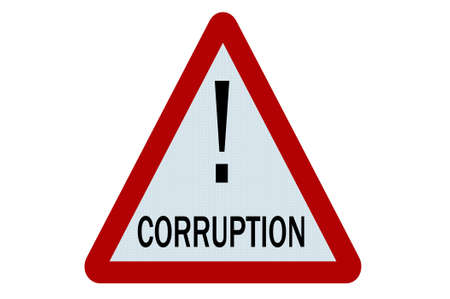corrupcion: Ilustraci�n de signo de corrupci�n sobre fondo blanco Foto de archivo