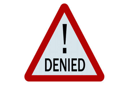 denied: Denied sign illustration on white background