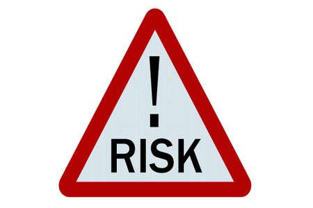 risks ahead: Ilustraci�n de signo de riesgo sobre fondo blanco