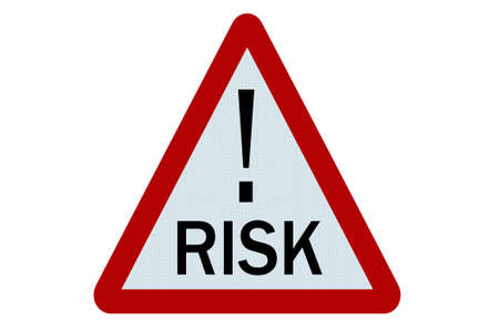triangular warning sign: Risk sign illustration on white background Stock Photo