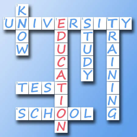 Education red word on crossword photo