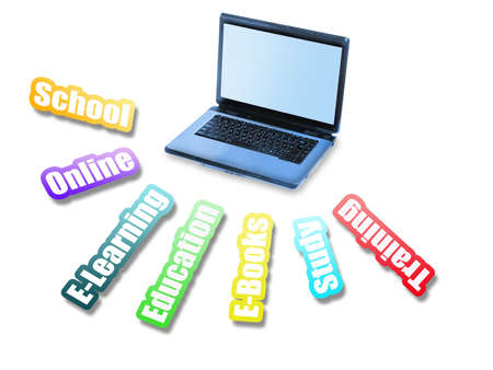 Education message and laptop on white photo