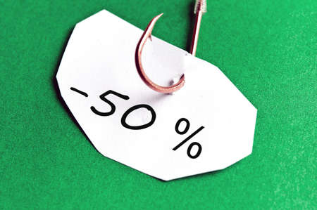 -50% message on paper on green background Stock Photo - 11529085
