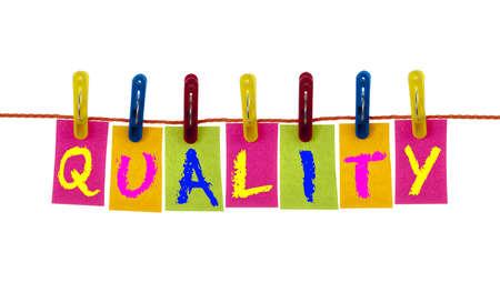 control de calidad: Calidad de la palabra en el gancho de ropa en blanco