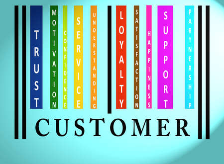 satisfaction client: Mot de code � barres color�es sur le client sur le bleu