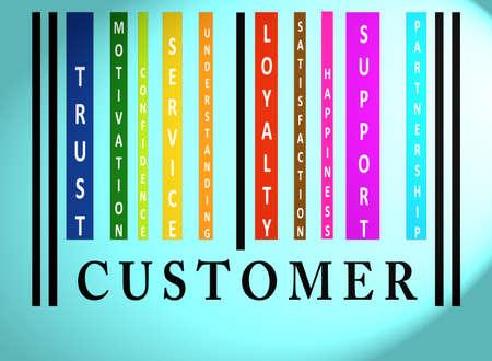 Palabra cliente en código de barras de colores en azul