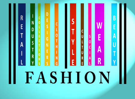 identifier: Fashion word on colorful barcode on blue Stock Photo