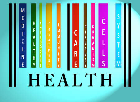 health information: Health word on colorful barcode on blue