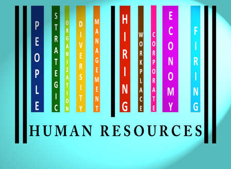 identity management: Human Resources word on colorful barcode on blue