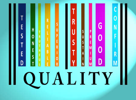 truthful: Quality word on colorful barcode on blue