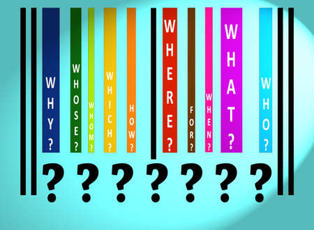 Questions words on colorful barcode on blue Stock Photo - 11528927