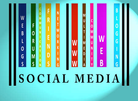 identifier: Social Media word on colorful barcode on blue