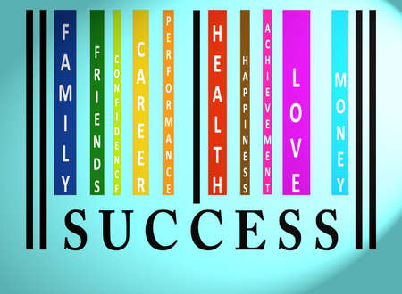 Success word on colorful barcode on blue photo