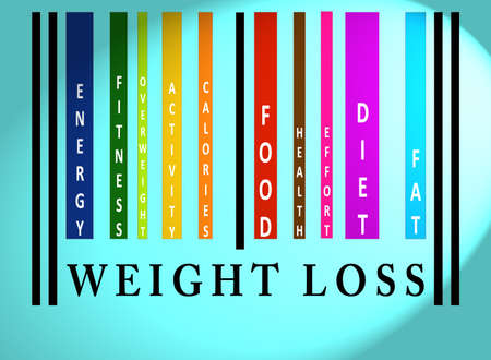 identifier: Weight Loss word on colorful barcode on blue