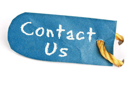 Contact Us word on isolated label