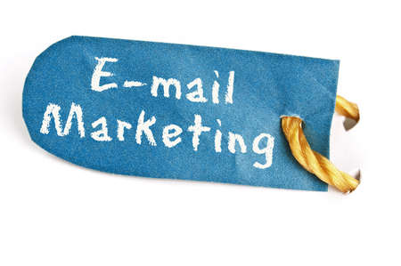 Email Marketing word on isolated label Stock Photo