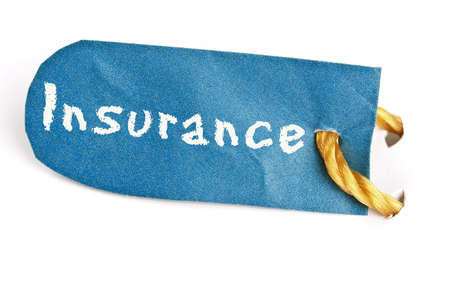 Insurance word on isolated label Stock Photo - 11529126