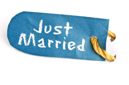 Just Married word on isolated label Stock Photo - 11529117