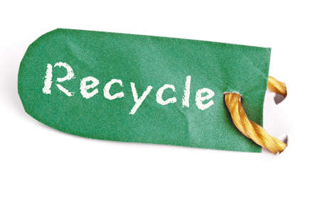 Recycle word on isolated label photo
