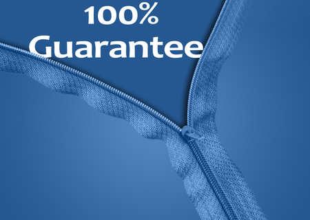 100% Guarantee word under blue zipper photo