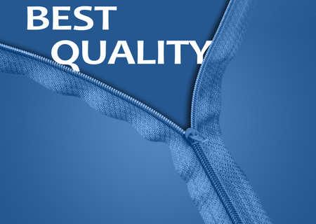 Best Quality word under blue zipper Stock Photo - 11528992