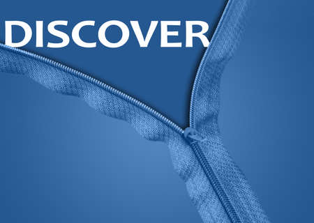 Discover word under blue zipper photo