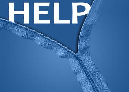 Help word under blue zipper photo