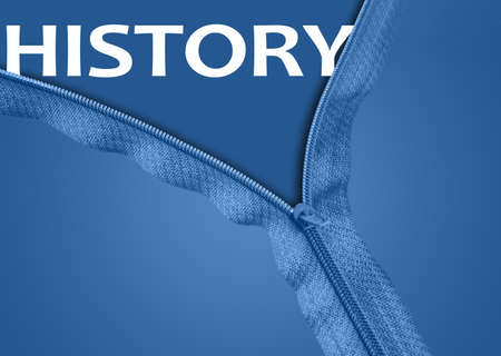 History word under blue zipper photo