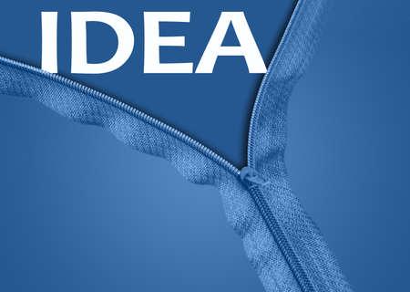 Idea word under blue zipper photo